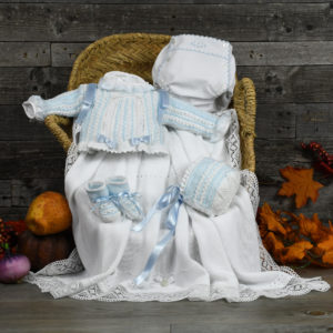 Conjunto primera puesta blanco y azul