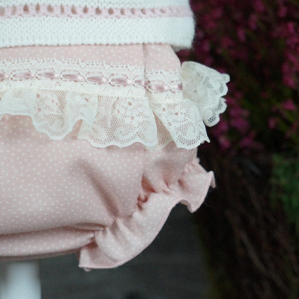 Conjunto de tres piezas crudo y rosa empolvado