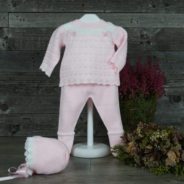 Jersey, polaina y capota de punto rosa y blanco
