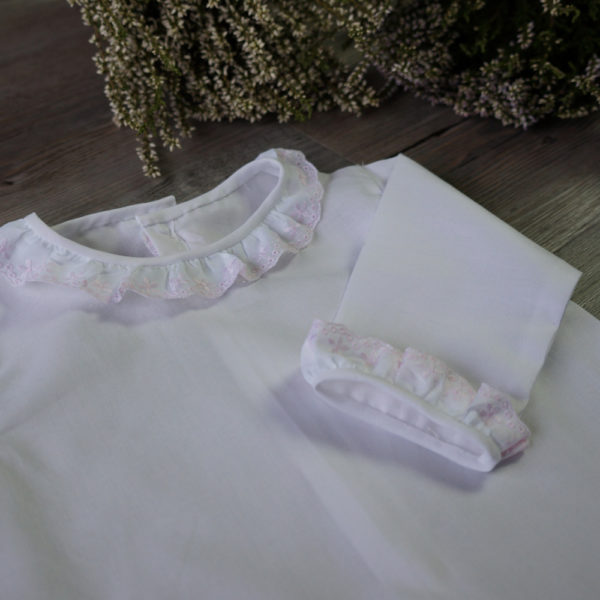 Camisa batista blanco y rosa