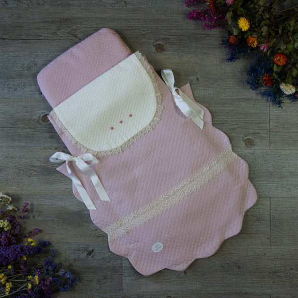 Saco colcha rosa tiza y mar