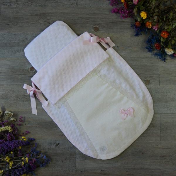 Saco-colcha color rosa y beige