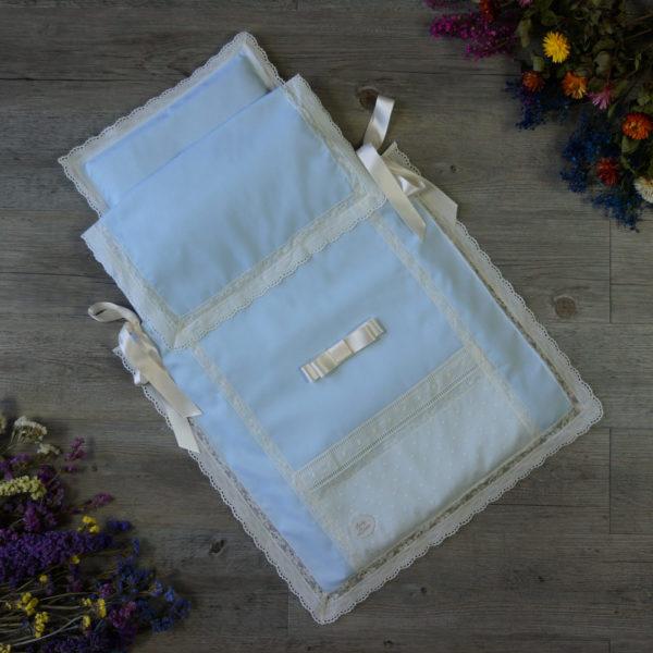 Saco colcha lencero celeste y marfil