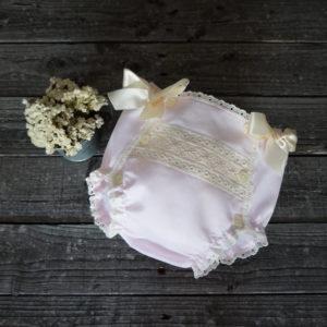 Cubrepañal batista rosa y beige