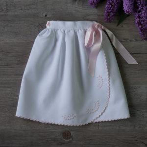 Faldón cintura festoneado blanco y rosa