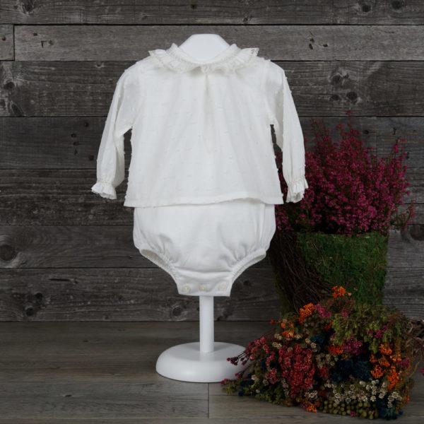 Body blusa marfil y topo