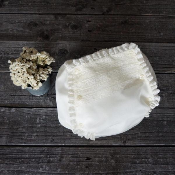 Cubrepañal seda natural marfil