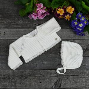 Newborn knitted cardigan and bonnet set