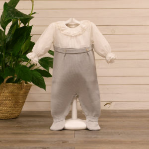 Batiste and knit romper