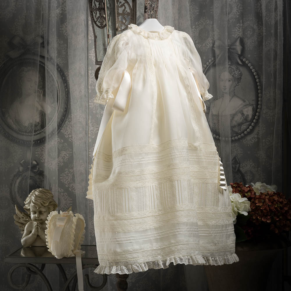 Vintage long sleeve pure natural silk two piece gown