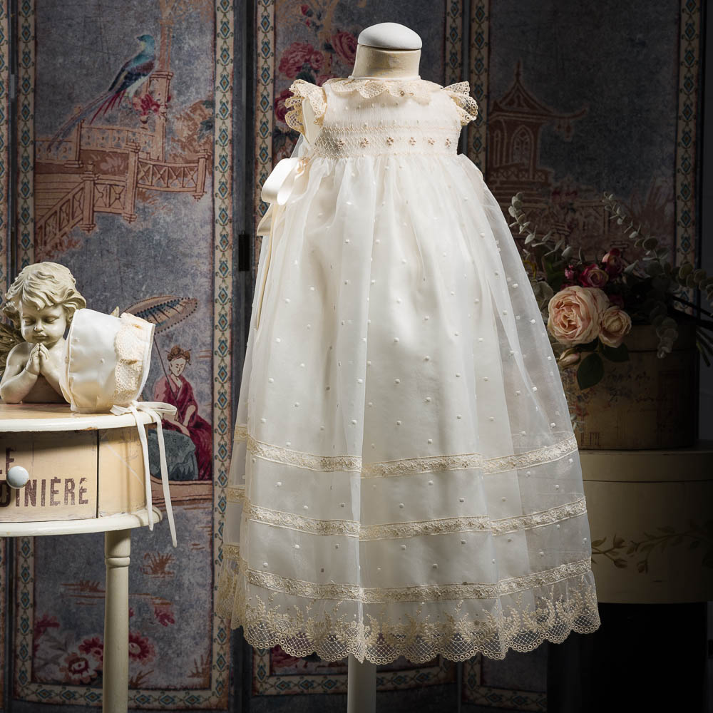Full length hand smocked christening gown