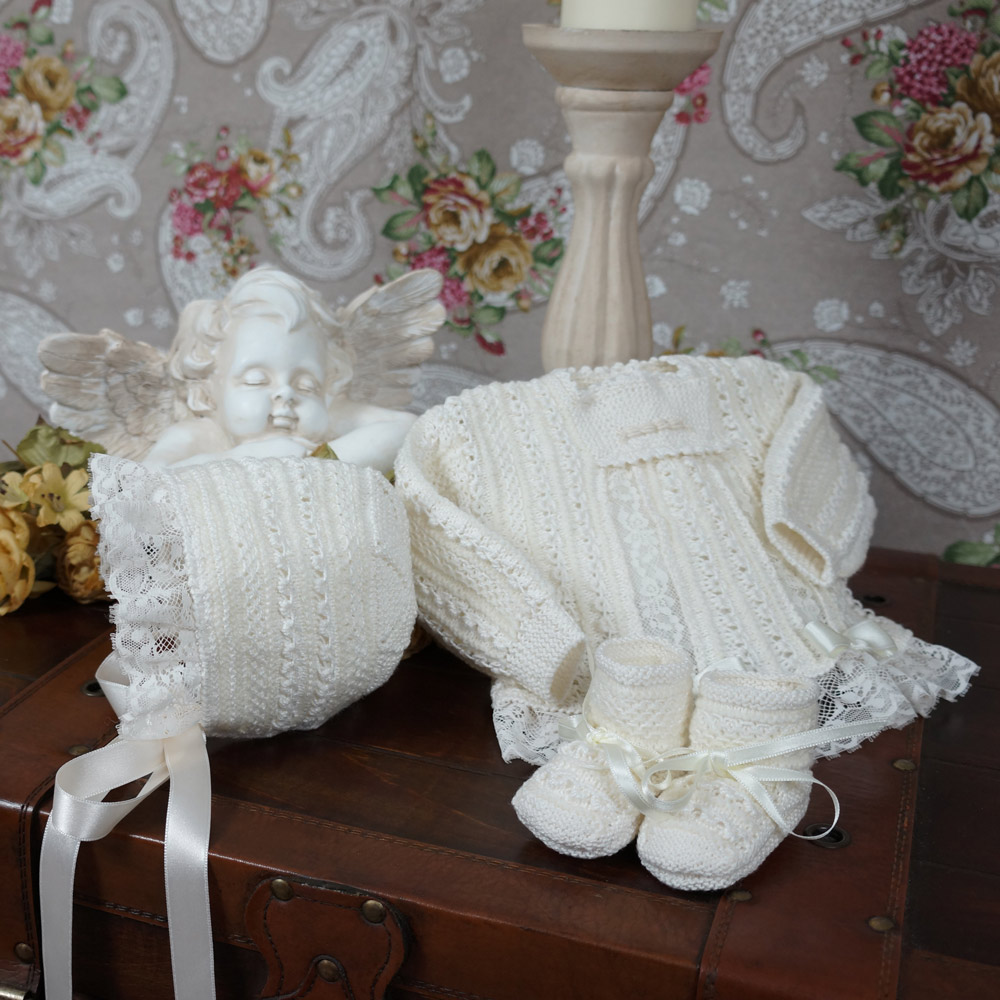 Heirloom hand knit and lace baby sweater set