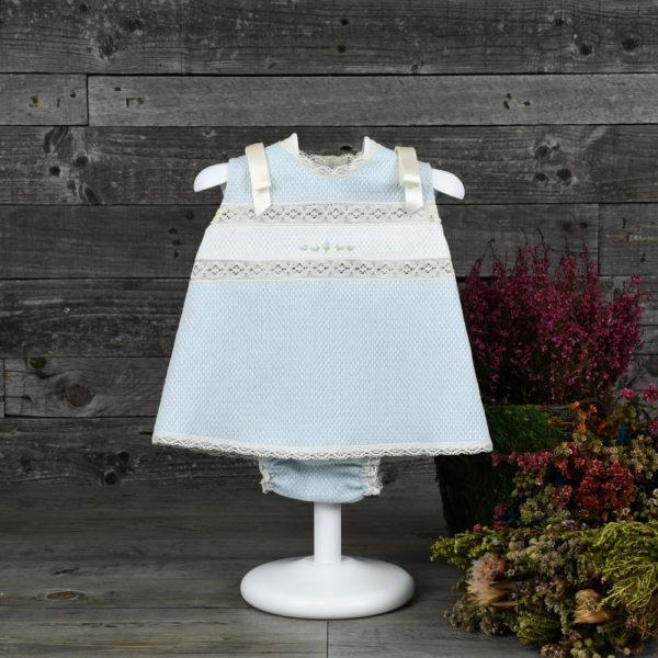 Vestido corto de algodón brocado