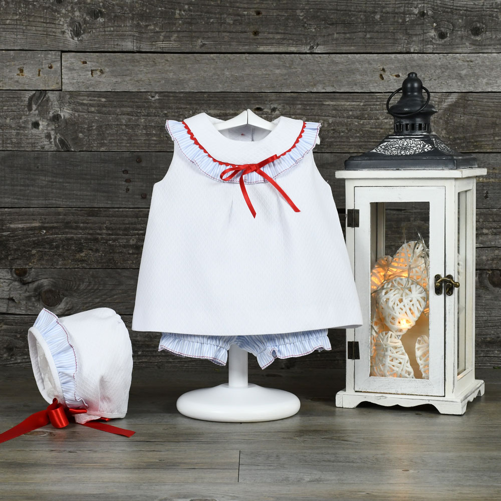 Sailor style baby dress set