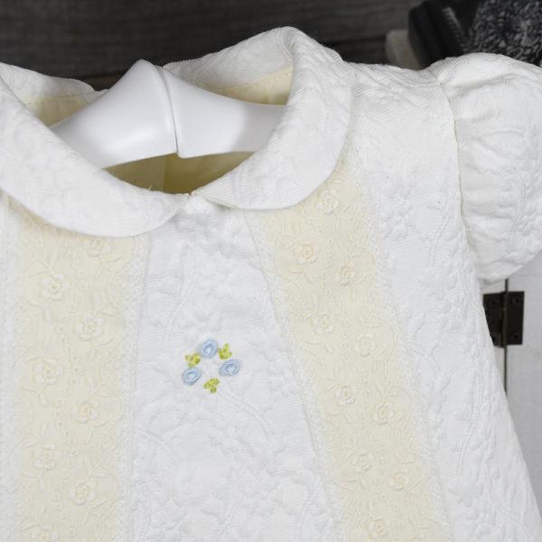 Traje unisex en algodón brocado marfil