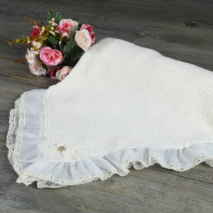 Soft baby shawl with organdi and lace