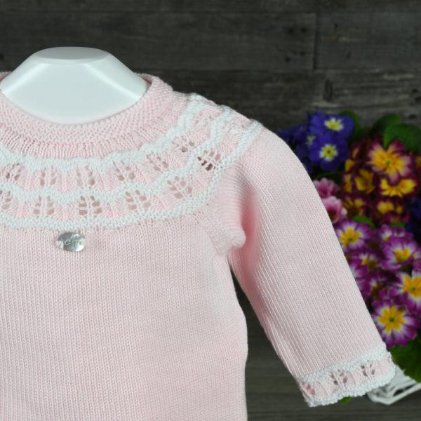 Conjunto jersey, polaina y capota en perlé