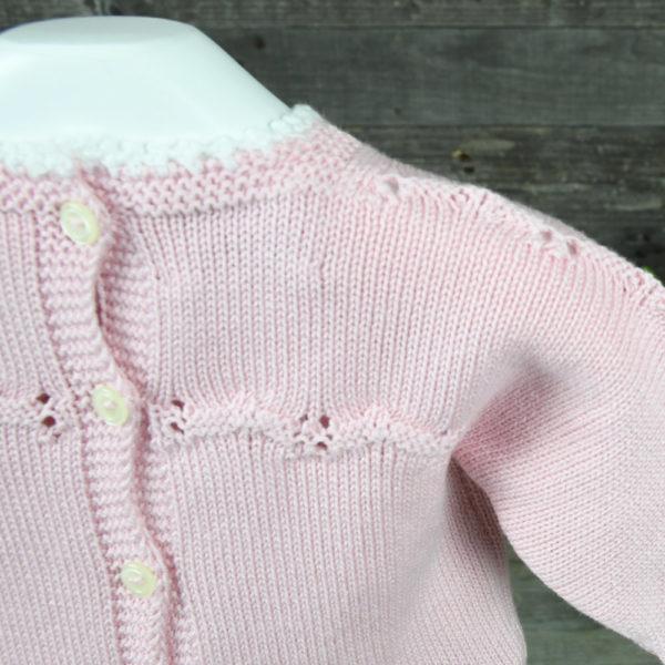 Conjunto de punto niña en perlé con detalles de tira bordada