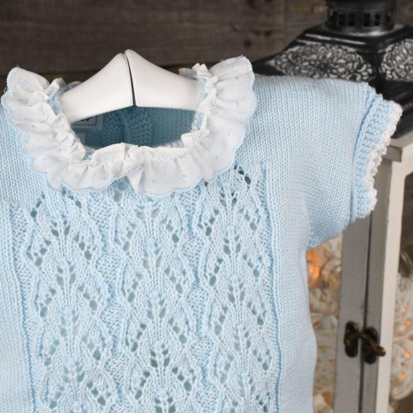 Conjunto jersey de perlé y ranita de plumeti estampada