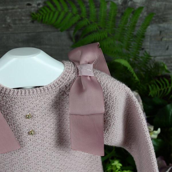 Conjunto tres piezas en rosa empolvado y marfil