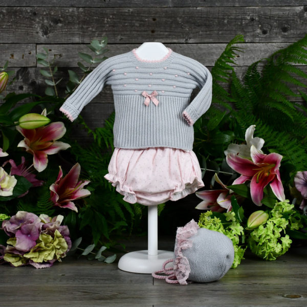 Newborn knit and Viyella three piece set