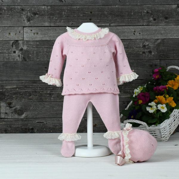 Conjunto de punto niña de jersey, polaina y capota
