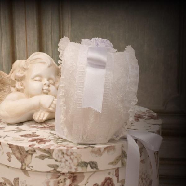 Faldón bautizo organdí Suizo color blanco