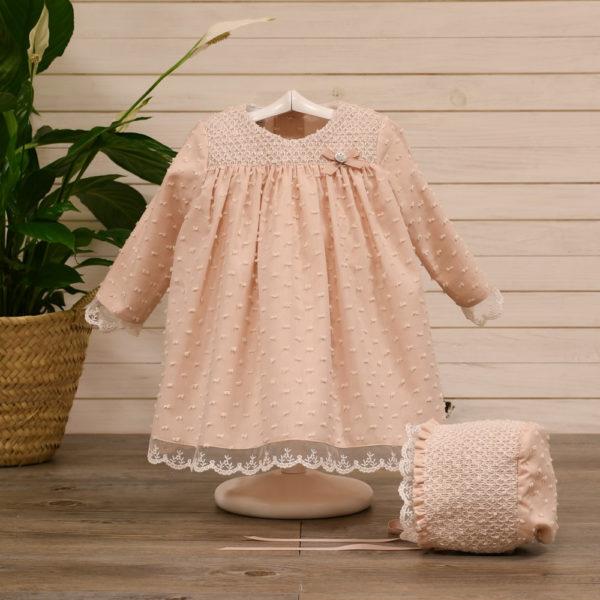 Vestido bebe y capota en plumeti
