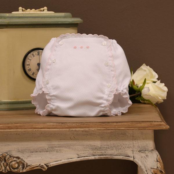 Cubrepañal piqué blanco y rosa
