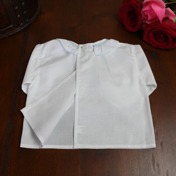 Camisa batista blanco y celeste