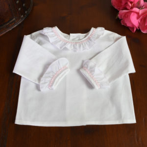 Camisa batista blanco y rosa